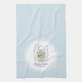 Happy Easter Cute Easter Bunny Basket Kitchen Towel
