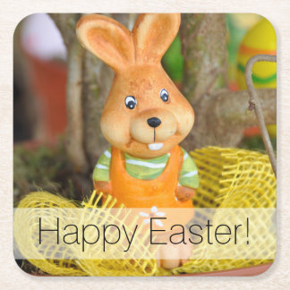 Happy Easter Cute Easter Bunny Square Paper Coaster