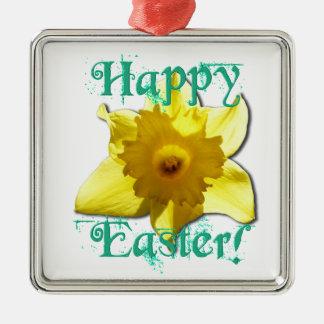 Happy Easter, Daffodil 01.2.T Metal Ornament