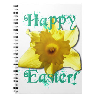 Happy Easter, Daffodil 01.2.T Spiral Notebook