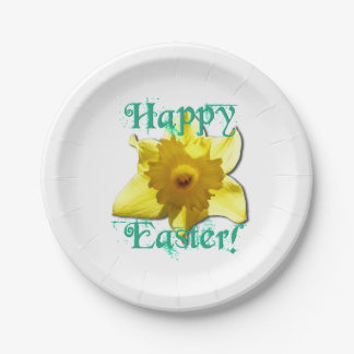 Happy Easter! Daffodils 01 Paper Plate