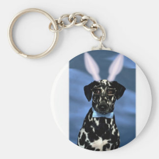 Happy Easter Dalmation Bunny Basic Round Button Keychain