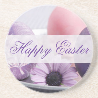 Happy Easter Decorated Eggs Coasters