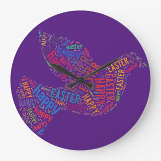 Happy Easter Dove Greeting Text Clocks