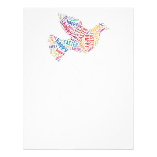 Happy Easter Dove Greeting Text Letterhead Template