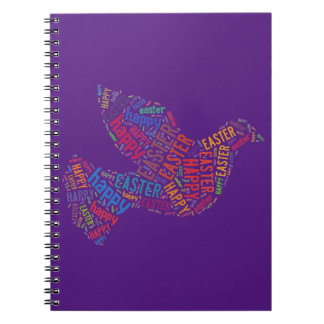 Happy Easter Dove Greeting Text Spiral Notebooks