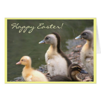 Happy Easter ducks greeting card