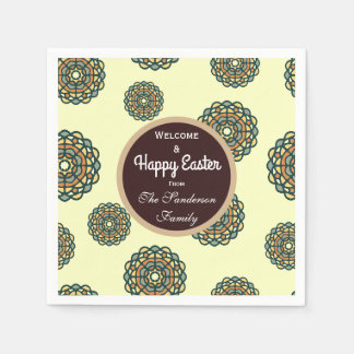Happy Easter Earth Tone Floral Disposable Napkin