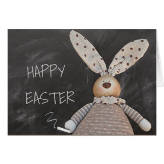 HAPPY EASTER,  EASTER BUNNY BLACKBOARD MESSAGE CARD