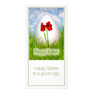 Happy Easter - Easter Egg with Red Amaryllis Photo Card Template