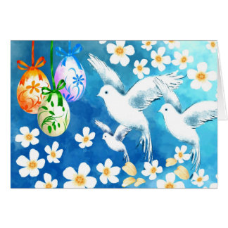 Happy Easter. Easter Eggs and Doves Greeting Cards