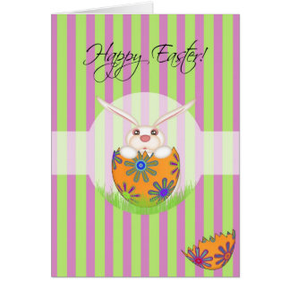Happy Easter Egg Hatching Bunny Greeting Card