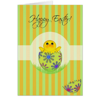 Happy Easter Egg Hatching Chick Greeting Card