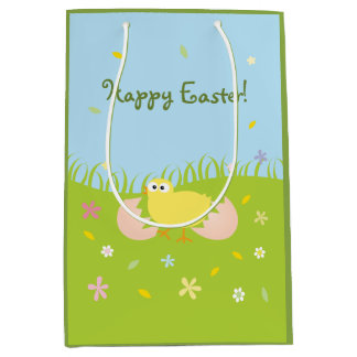 Happy Easter Egg Hunt Party Cute Baby Chick Medium Gift Bag