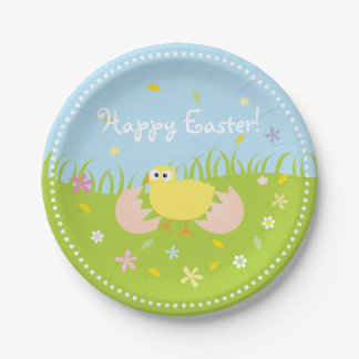 Happy Easter Egg Hunt Party Cute Baby Chick Paper Plate