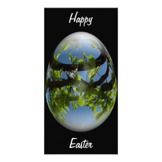 happy easter egg young leaves custom photo card
