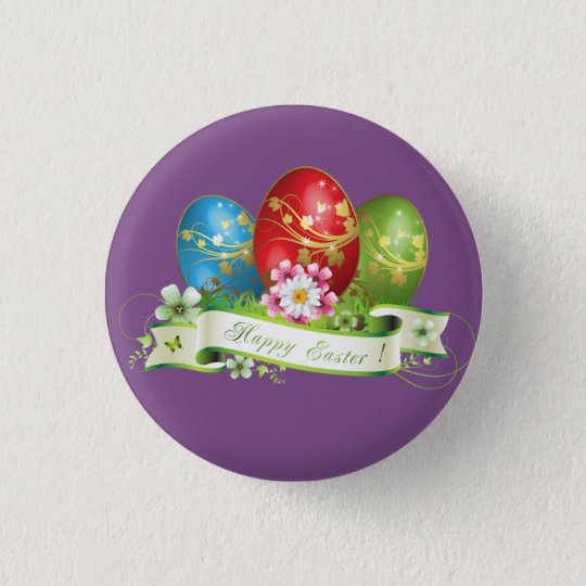 Happy Easter Eggs 1 Inch Round Button