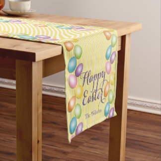 Happy Easter Eggs and Family or Business Name Short Table Runner