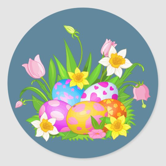 Happy Easter Eggs and Floral Round Sticker