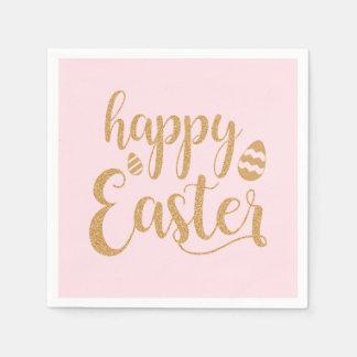 Happy Easter Eggs Gold Glitter Paper Napkin