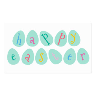 Happy Easter Eggs in Aqua Business Card