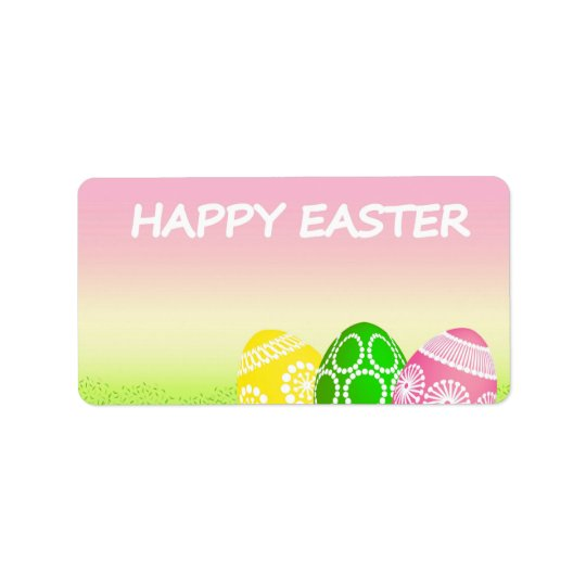 Happy Easter Eggs Label