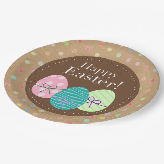 Happy Easter Eggs Polkadots On Faux Kraft Paper Paper Plate