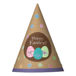 Happy Easter Eggs Polkadots On Faux Kraft Paper Party Hat