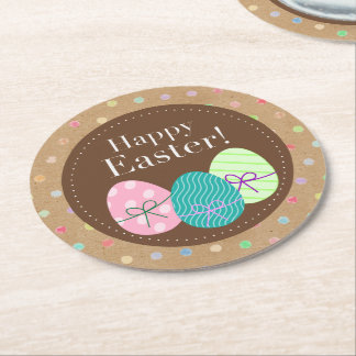 Happy Easter Eggs Polkadots On Faux Kraft Paper Round Paper Coaster