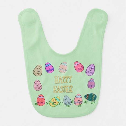 Happy Easter Eggs with Faces Bib