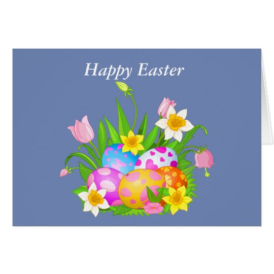 Happy Easter floral and Butterflies Card