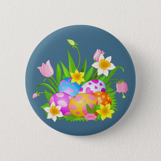 Happy Easter floral and colourful eggs 2 Inch Round Button