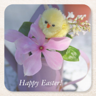 Happy Easter Floral Spring Chicken Square Paper Coaster