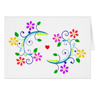 Happy Easter Floral, Swirls and Heart Card