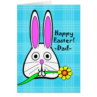 Happy Easter for Dad, Cute Rabbit with Flower Card