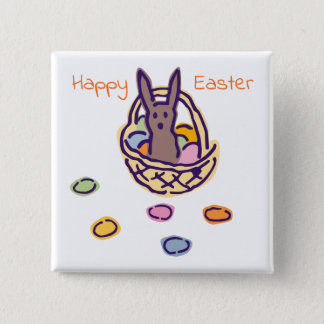 Happy Easter Ghoulie Bunny Basket 2 Inch Square Button