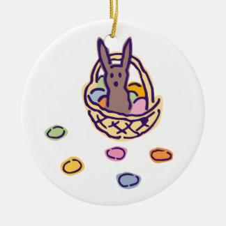 Happy Easter Ghoulie Bunny Basket Ceramic Ornament