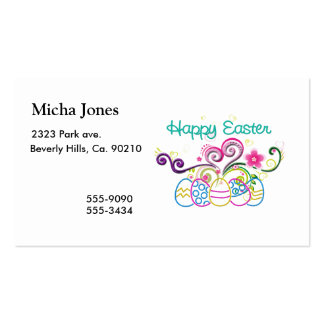 Happy Easter Glitter Eggs & Floral Business Card