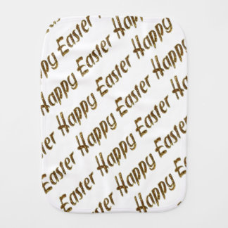 Happy Easter Gold Glitter Style Typography Elegant Burp Cloth