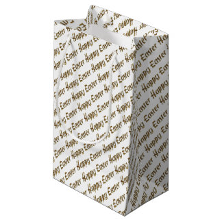 Happy Easter Gold Glitter Text Typography Elegant Small Gift Bag