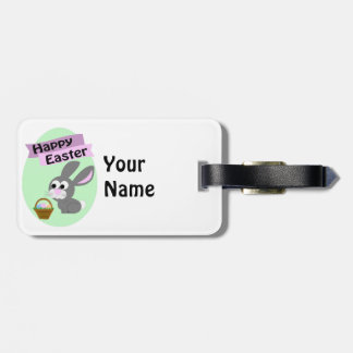Happy Easter! Gray Bunny Luggage Tag