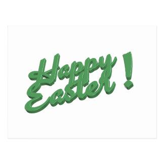 Happy easter green logo postcard