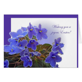 Happy Easter Greeting Card - Blue African Violets