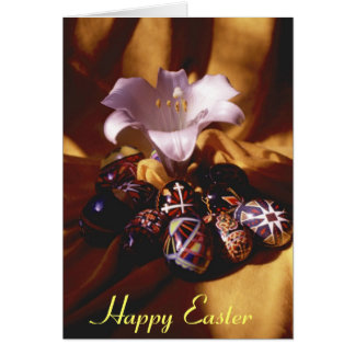 Happy Easter Greeting Card~Easter Eggs/Lily