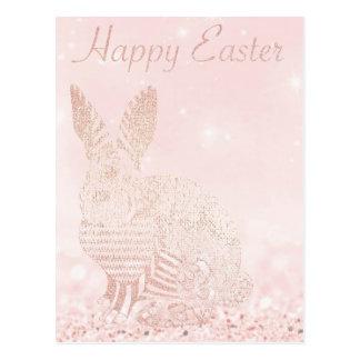Happy Easter Greeting Rabbit Glitter Pink Blush Postcard