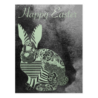 Happy Easter Greeting Rabbit Grungy Silver Mint Postcard