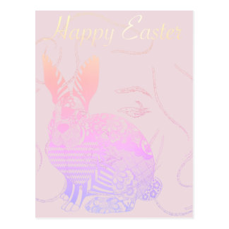 Happy Easter Greeting Rabbit Ombre Pink Woman Face Postcard