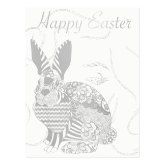 Happy Easter Greeting Rabbit White Gray Woman Face Postcard