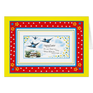 Happy Easter greetings card blue birds colourful