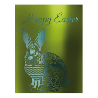 Happy Easter Greetings Greenery Metallic Rabbit Postcard